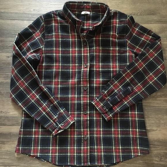 1463507425 L.L. Bean Tops | Ll Bean Womens Black Tartan Plaid Flannel Shirt ...